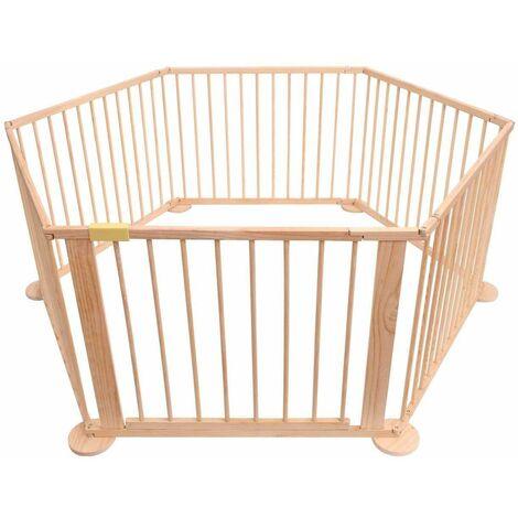 Bc-elec - 5664-0018YLB Parque de bebe hexagonal flexible en madera 5.4m, 6 paneles de 70x90cm - Beige