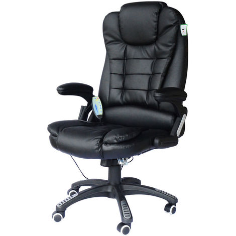 Bc-elec - A2-0055 BLACK HIGH QUALITY 6 POINT LEATHER OFFICE COMPUTER CHAIR DESK CHAIR