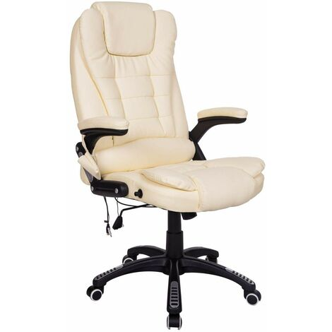 Bc-elec - A2-0057 BEIGE HIGH QUALITY 6 POINT LEATHER OFFICE COMPUTER CHAIR DESK CHAIR