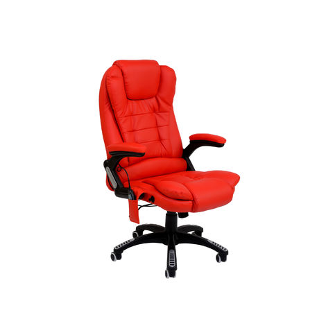 Bc-elec - A2-0058 RED HIGH QUALITY 6 POINT LEATHER OFFICE COMPUTER CHAIR DESK CHAIR