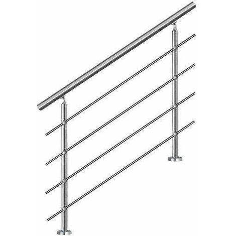 Bc-elec - AHM1004 Main courante d'escalier 100cm, balcon, balustrade, garde-corps en inox avec 4 barres transversales, install. à plat ou inclinée - Gris