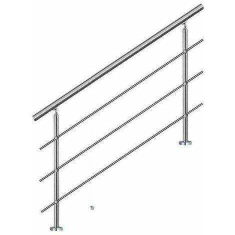 Bc-elec - AHM1203 Main courante d'escalier 120cm, balcon, balustrade, garde-corps en inox avec 3 barres transversales, install. à plat ou inclinée