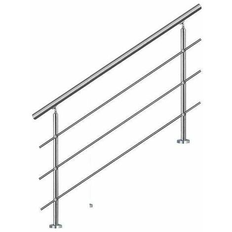 Bc-elec - AHM1203 Staircase handrail 120cm, balcony, balustrade, stainless steel railing with 3 cross bars, flat or inclined installation