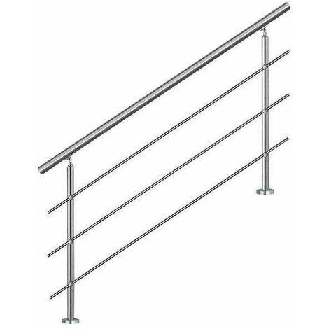 Bc-elec - AHM1403 Main courante d'escalier 140cm, balcon, balustrade, garde-corps en inox avec 3 barres transversales, install. à plat ou inclinée
