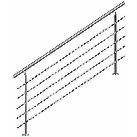 "main image of ""Bc-elec - AHM1805 Main courante d'escalier 180cm, balcon, balustrade, garde-corps en inox avec 5 barres transversales, install. à plat ou inclinée - Gris"""