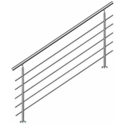 Bc-elec - AHM1805 Staircase handrail 180cm, balcony, balustrade, stainless steel railing with 5 cross bars, flat or inclined installation