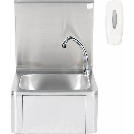 """main image of """"Bc-elec - ASS01 Lavamanos de acero inoxidable montado en la pared con dosificador de jabón, control de rodilla, control femoral y lavamanos. - Gris"""""""
