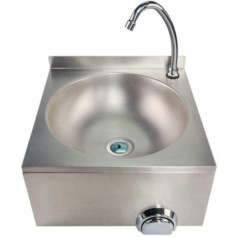 Bc-elec - ASS02 Lavamanos de acero inoxidable montado en la pared, control de rodilla, control femoral y lavamanos. - Grigio