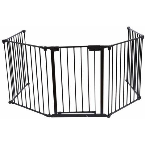 Bc-elec - B101201 Barrière de sécurité grille de protection pour enfants pour cheminée et escaliers longeur totale 3 mètres - Noir