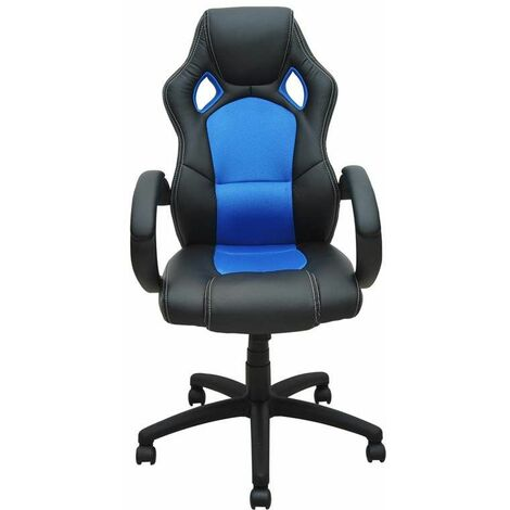 Bc-elec - bs11010-2 Siège baquet fauteuil de bureau bleu et noir, tissu et cuir