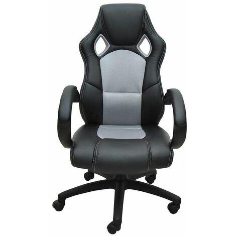 Bc-elec - bs11010-3 Siège baquet fauteuil de bureau gris et noir, tissu et cuir