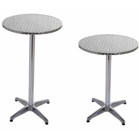 Bc-elec - BS11011-6 Table haute de bar / réception Ø60Cm, mange debout en aluminium, H: 70 ou 110 cm
