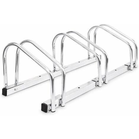 Bc-elec - BS400003 Rack à vélos, support de rangement bicyclette, râtelier vélo, Support pour 3 vélos, au sol ou mural - Grigio
