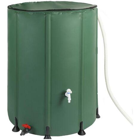 Bc-elec - BS400008 Depósito de agua de lluvia de PVC de 200 litros con salida para manguera de jardín, depósito de agua de lluvia de 60x72cm - Verde