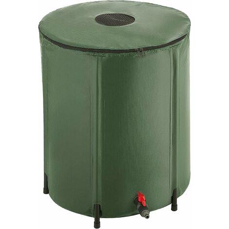 Bc-elec - BS400009 Depósito de agua de lluvia de PVC de 250 litros con salida para manguera de jardín, depósito de agua de lluvia de 60x88cm - Verde