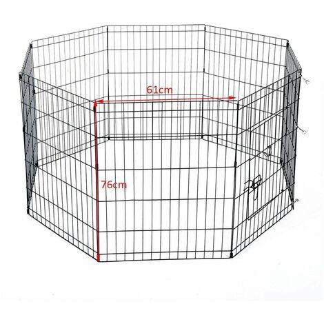 Bc-elec - D06-020A Parc à Chiots, enclos pour chiens et autres animaux, 8 panneaux 76x61, modulable - Noir