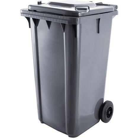 Bc-elec - GX-009B Poubelle extérieure 120 litres, conteneur à déchets 120L sur roues 48x55x94cm, gris - Gris