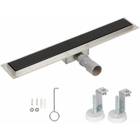 Bc-elec - HFD-G-60 Canal de ducha 60cm en acero inoxidable, cristal negro, altura regulable 67-92mm - Nero