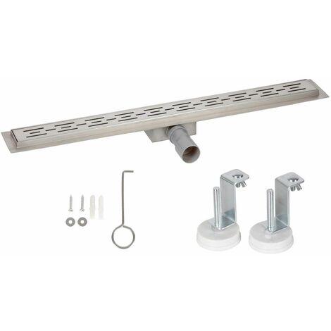 Bc-elec - HFD02-80 Caniveau de douche 80cm en inox type lignes, sterfput de douche, hauteur ajustable 67-92mm - Gris