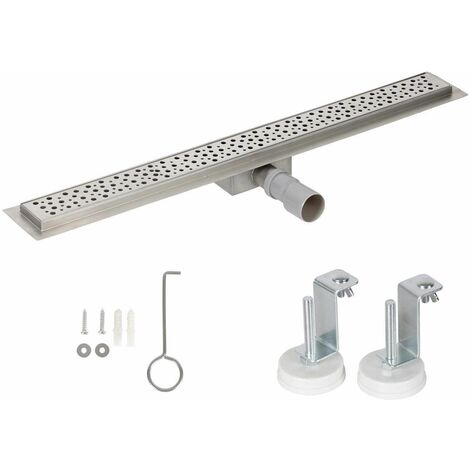 Bc-elec - HFD06-100 Caniveau de douche 100cm en inox type gouttes, sterfput de douche, hauteur ajustable 67-92mm - Gris