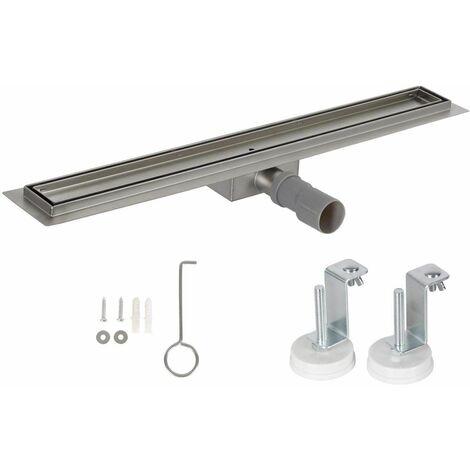 Bc-elec - HFD09-100 Canal de ducha para alicatado 100cm en acero inoxidable, ducha estereofónica, altura regulable 67-92mm - Gris
