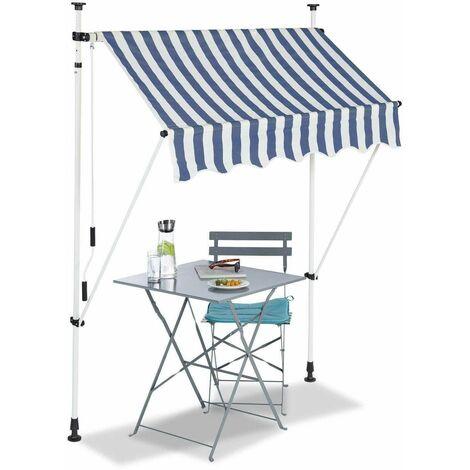 Bc-elec - HHYVA1512-Bluewhite Auvent rétractable manuel store banne marquise pour patio & terrasse 150x120cm blanc et bleu