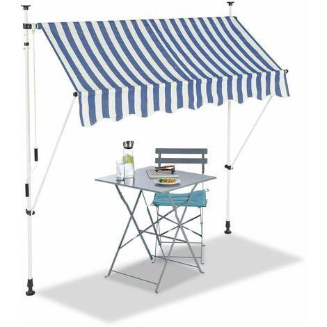 Bc-elec - HHYVA2012-Bluewhite Auvent rétractable manuel store banne marquise pour patio & terrasse 200x120cm blanc et bleu