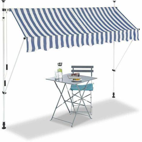 Bc-elec - HHYVA2512-Bluewhite Auvent rétractable manuel store banne marquise pour patio & terrasse 250x120cm blanc et bleu