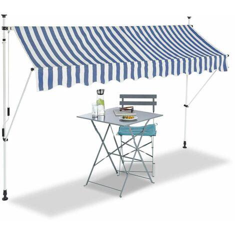 Bc-elec - HHYVA3012-Bluewhite Auvent rétractable manuel store banne marquise pour patio & terrasse 300x120cm blanc et bleu