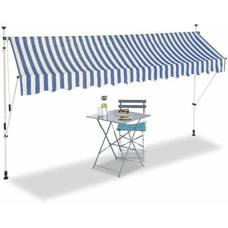 Bc-elec - HHYVA3512-Bluewhite Auvent rétractable manuel store banne marquise pour patio & terrasse 350x120cm blanc et bleu