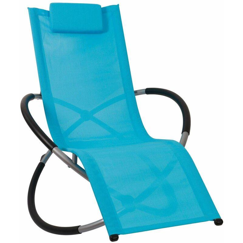 Bc-elec - HMBL-04-BLUE Chaise longue bleu, relax de jardin, chaise de jardin, rocking chair, résistant aux intempéries, max 180kg - Azul