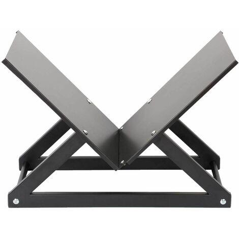 Bc-elec - HMFR-05B-02 Rangement à bois format X en acier anthracite, rack pour bois de chauffage, range bûches - Noir