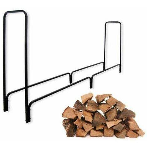Bc-elec - HMFR-06 Rangement à bois en acier noir 240X36X120CM, rack pour bois de chauffage, range-bûches