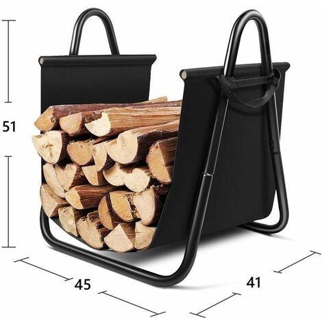 Bc-elec - HMFR-10 Black steel and fabric wood storage 46X41X51CM, basket for firewood, log storage