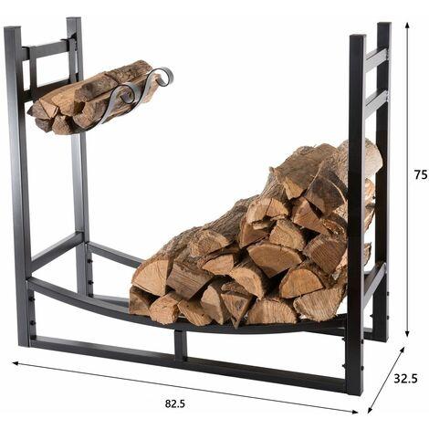 """main image of """"Bc-elec - HMFR-16 Rangement à bois en acier noir 82.5X33X75CM, rack pour bois de chauffage, range-bûches - Noir"""""""