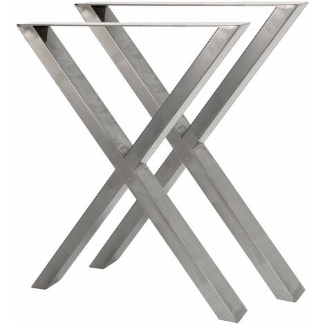 Bc-elec - HMLT-3 Set of 2 table legs in raw steel varnished format X, metal table legs 60x72cm