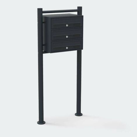 Bc-elec - HPB1X3-GS Standing Letterbox Anthracite for 3 apartments