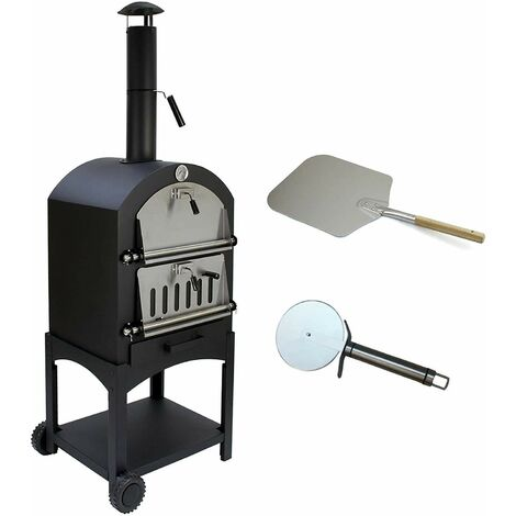 Bc-elec - HPO01 Pizza Oven 157x50x64cm charcoal or wood fired pizza oven, refractory stone and thermometer