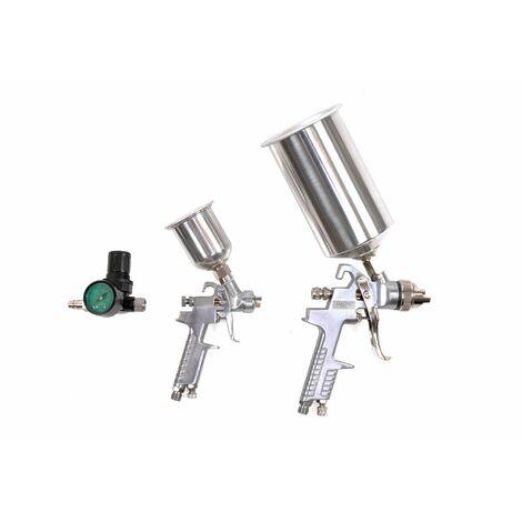 Bc-elec - LE-23 Kit de pintura HVLP que incluye 2 pistolas de pintura (125 ml y 1 l) y un manómetro