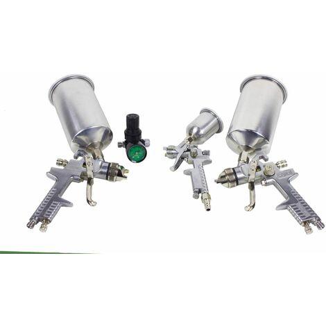 Bc-elec - LE-24 Kit de pintura HVLP que incluye 3 pistolas de pintura (125ml y 2x 1000ml) y un manómetro.