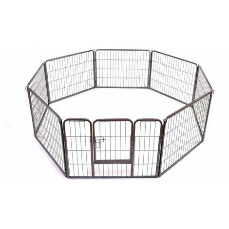 Bc-elec Parc à Chiots, enclos pour chiens et autres animaux, 8 panneaux 80x60, modulable