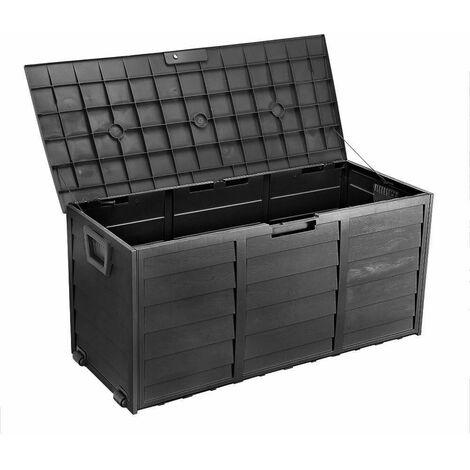 Bc-elec - PLAS-BOX Boîte de rangement de jardin Noir imitation bois 112x49x54cm, Caisse de rangement, coffre de jardin
