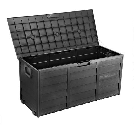 Bc-elec - PLAS-BOX Garden storage box Black imitation wood 112x49x54cm, Storage box, garden chest