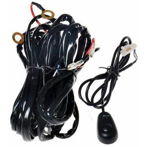 Bc-elec - ralledbar Rallonge Faisceau d'installation pour barre de LED et Longue Portée avec interrupteur et fusible 30A - Noir
