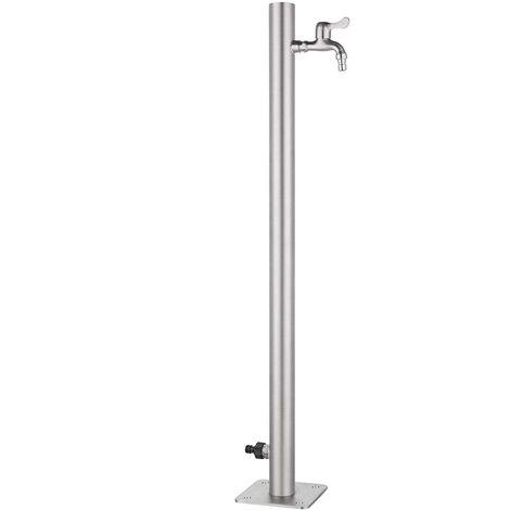 Bc-elec - WCR-50 Robinet d'extérieur 95x5cm, colonne d'eau extérieure en acier inoxydable, distributeur d'eau, point d'eau jardin - Gris