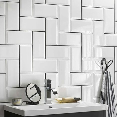 BCT White Metro Gloss Wall Tiles 100mm X 200mm - Box Of 50 (1m2)