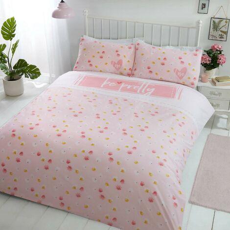Be Pretty Pink Double Duvet Cover Set Floral Bedding Quilt Set