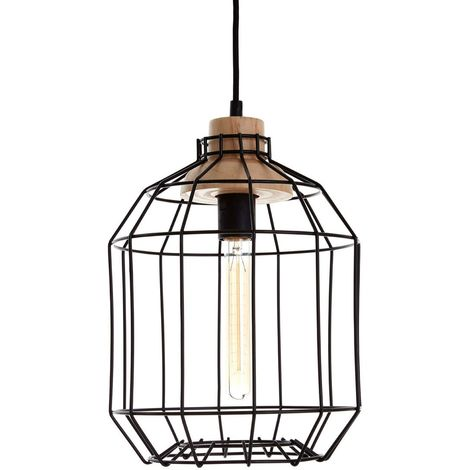 Beacan Pendant Light, Metal Wire, Black