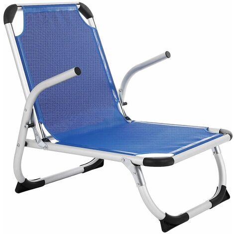 Beach Chair, Foldable Chair, Light, Comfortable, Breathable Texteline Fabric, Heavy Duty, Outdoor Chair, Blue GCB64BU