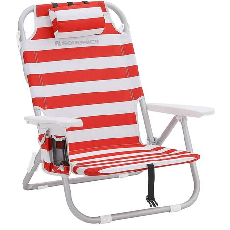Beach Chair Portable, with Cooler Pocket, Bottle Holder, and Pillow, Foldable, Reclinable, Light, Durable, Outdoor Chair, Red and White Stripes GCB63BU